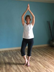 Diane in modified tree pose